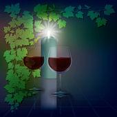 Illustrazione astratta con candele e bicchiere da vino su blu — Vettoriale Stock