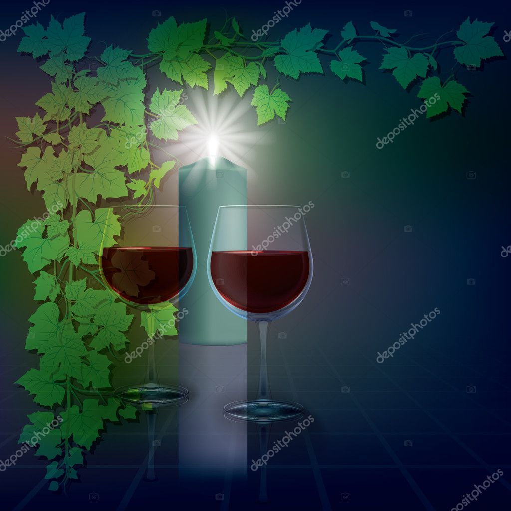 Abstract illustration with candle and wineglasses on blue — ベクター素材ストック #5385296