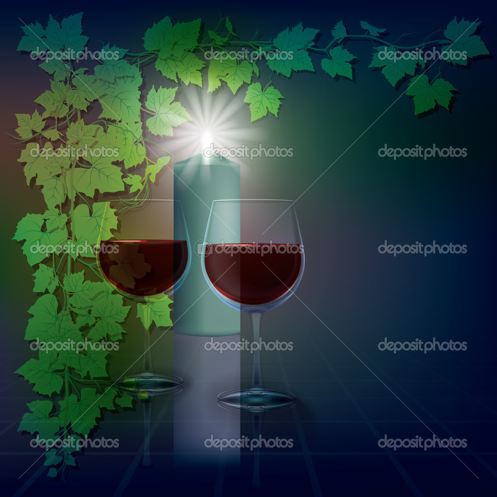 Abstract illustration with candle and wineglasses on blue — Image vectorielle #5385296