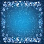 Abstracte grunge blauwe achtergrond met bloemen — Stockvector