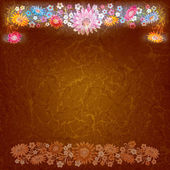 Abstract grunge background with color flowers — Stock Vector