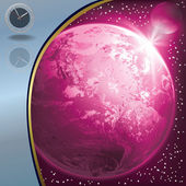 абстрактный рисунок с часами и глобус — Cтоковый вектор