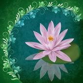 Illustrazione grunge astratto con lotus — Vettoriale Stock