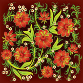 Abstract floral ornament with red flowers — Stock Vector