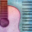 Abstract music grunge background acoustic guitar and piano - 图库矢量图片