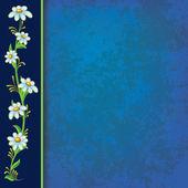 Abstrakt blå grunge bakgrund med blå blommor — Stockvektor