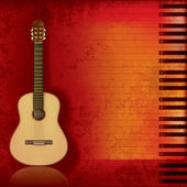 Music grunge background acoustic guitar and piano — Vector de stock