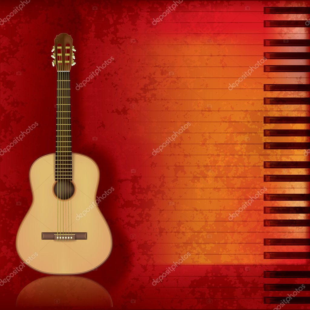 Abstract music grunge background acoustic guitar and piano  Stock Vector #5832389