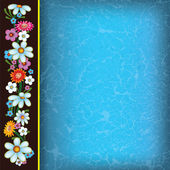 Abstract blue grunge background with flowers — Stock Vector