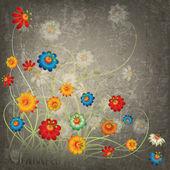 Fondo floral abstracta grunge con flores — Vector de stock