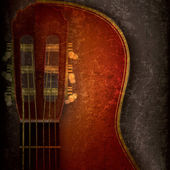 Abstract music grunge background with acoustic guitar — Stok Vektör