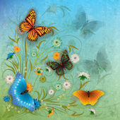 Abstract grunge illustration with butterfly and flowers — Stock Vector