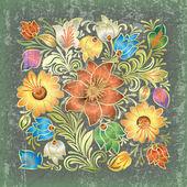 Abstract grunge background avec ornement floral — Vecteur