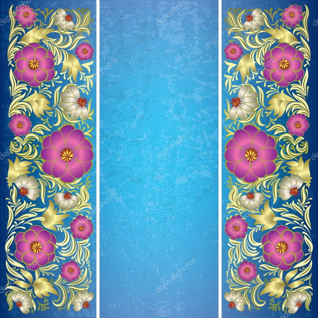 Abstract grunge blue background with floral ornament  Stock Vector #6244818