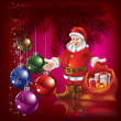 Christmas greeting with Santa Claus — Image vectorielle