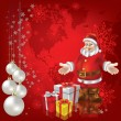 Christmas greeting Santa Claus with gifts - Stock Vector