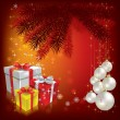 Christmas tree with gifts and balls on red — Stock Vector