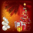 Christmas tree with gifts on red — Stock Vector