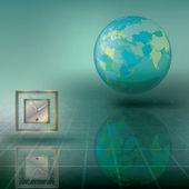 Ilustración abstracta con globo y reloj — Vector de stock
