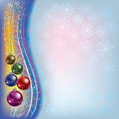 новогодний фон с декорациями и снежинки — Cтоковый вектор