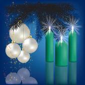 Jul hälsning med inredning och ljus — Stockvektor