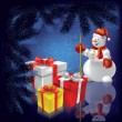 Abstract Christmas background with gifts snowman — Stock Vector #6390343