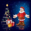 Royalty-Free Stock : Christmas tree with Santa Claus and gifts