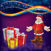 Christmas greeting with Santa Claus and gifts — Stock Vector