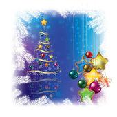 Árvore de Natal com enfeites — Vetor de Stock