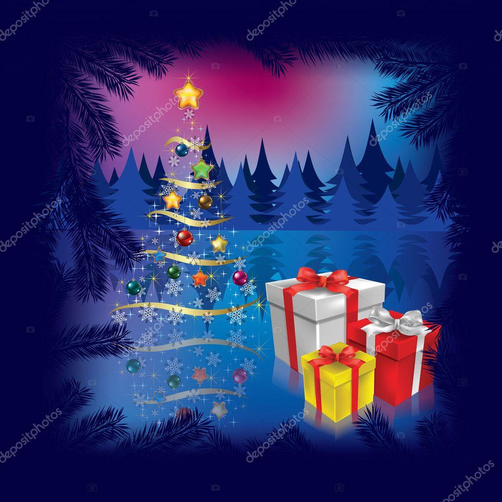 Rbol de navidad con regalos en la oscuridad vector - Arbol de navidad con regalos ...