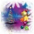 Abstract Christmas background with tree — Stock Vector