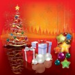 Abstract greeting with Christmas tree — Image vectorielle
