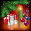 Christmas greeting with gifts and candle - Stok Vektör
