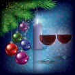 Christmas greeting with wine glasses and candle - Vettoriali Stock 