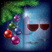 Christmas greeting with wine glasses and candle — Cтоковый вектор