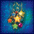 Christmas greeting with decorations on blue — Imagen vectorial