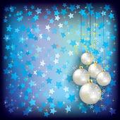 Felicitación de navidad con adornos blancos en azul — Vector de stock