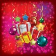 Christmas greeting with gifts and decorations on red — Image vectorielle