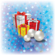 Christmas gifts and decorations on blue — Stock Vector