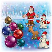 Saudação de natal com veado de papai noel e bonecos de neve — Vetorial Stock
