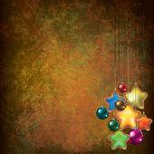 Noel süslemeleri ile grunge tebrik — Stok Vektör
