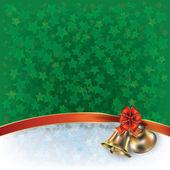 圣诞绿色问候与钟声和弓 — 图库矢量图片