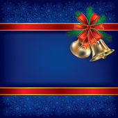 Boże narodzenie tło wstążkami prezent i dzwonki — Wektor stockowy