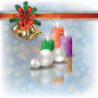 Christmas background with candles on white - Векторная иллюстрация