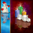 Christmas background with snowman decorations and candles — Stock Vector