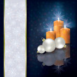 Christmas greeting with candles and decorations - Stok Vektör