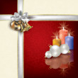 Christmas red blue greeting with white gift ribbons — Imagen vectorial