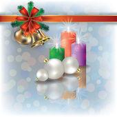 Vánoční pozadí se svíčkami na bílém pozadí — Stock vektor