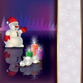 Sfondo di natale con pupazzo di neve e candele — Vettoriale Stock