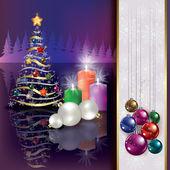 Fondo de navidad con velas y árbol — Vector de stock
